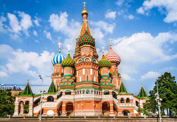 st basil's cathedral, in red square, moscow, russia - 俄羅斯 個照片及圖片檔