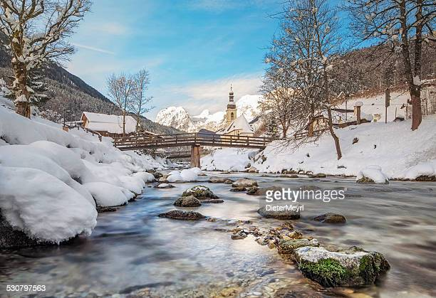 st. bastian church in ramsau - berchtesgadener land stock photos and pictures
