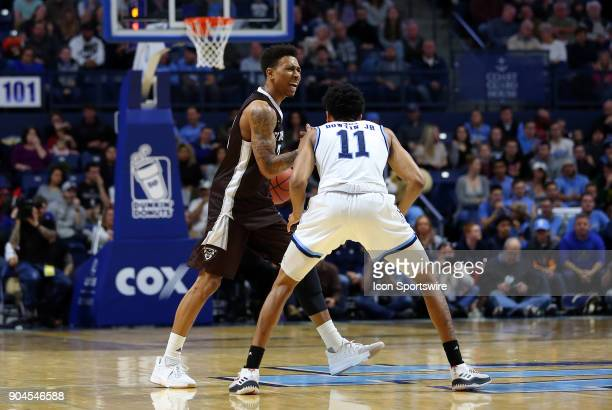 St Bonaventure Bonnies guard Jaylen Adams and Rhode Island Rams guard Jeff Dowtin during a college basketball game between St Bonaventure Bonnies and...
