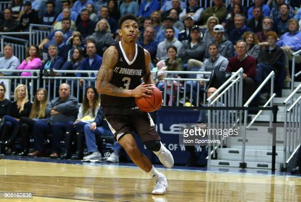 St Bonaventure Bonnies guard Jaylen Adams drives to the basket during a college basketball game between St Bonaventure Bonnies and Rhode Island Rams...