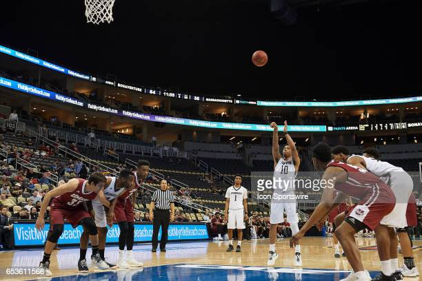 St Bonaventure Bonnies guard Jaylen Adams shoots a free throw during an Atlantic 10 Championship game between St Bonaventure Bonnies and...