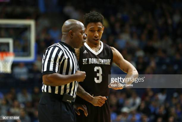 St Bonaventure Bonnies guard Jaylen Adams speaks with referee Clarence Armstrong during a college basketball game between St Bonaventure Bonnies and...