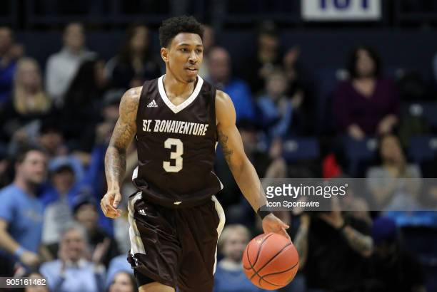 St Bonaventure Bonnies guard Jaylen Adams with the ball during a college basketball game between St Bonaventure Bonnies and Rhode Island Rams on...