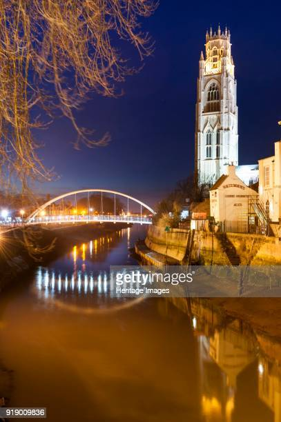 St Botolph's Bridge Boston Lincolnshire 2014 The new footbridge over the river Haven from the south illuminated at dusk with St Botolph's church...