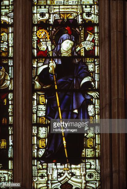 St Brigid in West Window of Hereford Cathedral 20th century Medieval stained glass window in Hereford Cathedral depicts Saint Brigit of Kildare or...