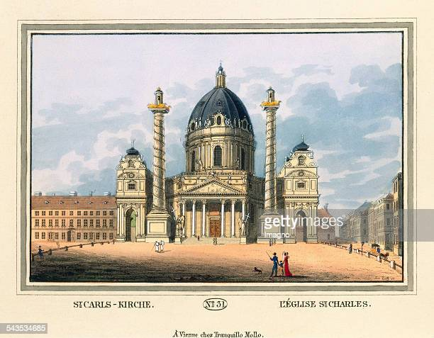 St CarlsKirche [Charles Church] 1825 Coloured etching Journal No 31 from >Wiens vorzüglichste Gebäude und Monumente Les principaux batiments et...