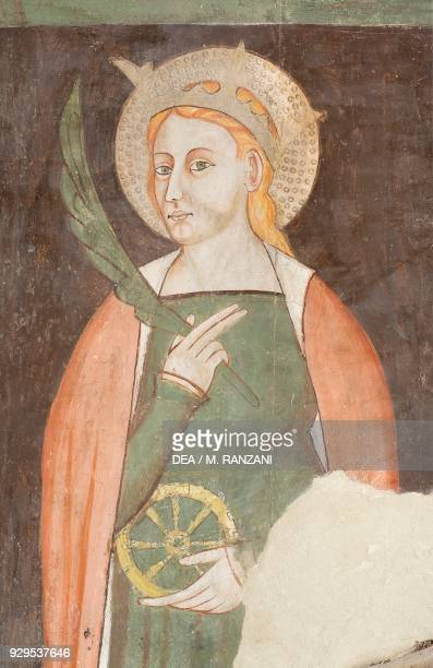 St Catherine of Alexandria detail from the frescoes behind St Michael's altar left transept in Cremona cathedral Cremona Lombardy Italy 14th century