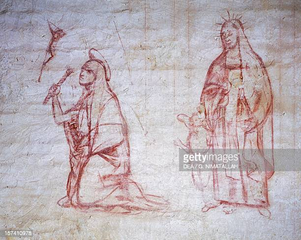 St Catherine of Siena and St Frances of Rome, by Giovanni Antonio Bazzi known as Il Sodoma . San Miniato al Monte , Florence. Italy, 16th century.