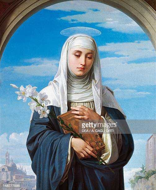 St Catherine of Siena by Alessandro Franchi detail Rome Galleria Nazionale D'Arte Moderna
