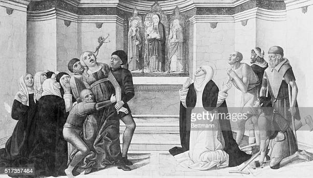 St. Catherine of Sienna casting a devil out of a woman. Painting by Girolamo di Benvenuto, circa 1500-1510. | Located in: Denver Art Museum.
