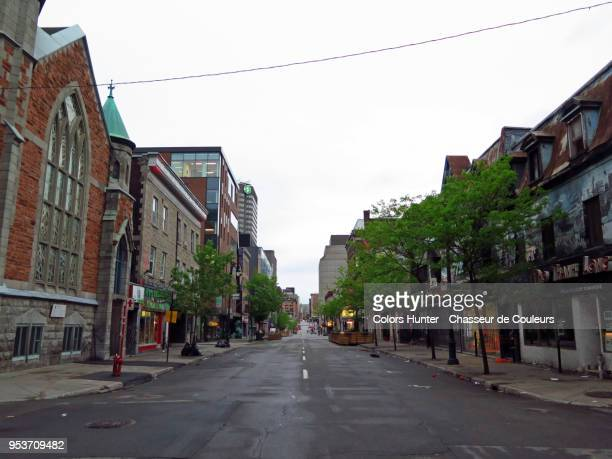 st catherine street montreal - kathy shower stock pictures, royalty-free photos & images