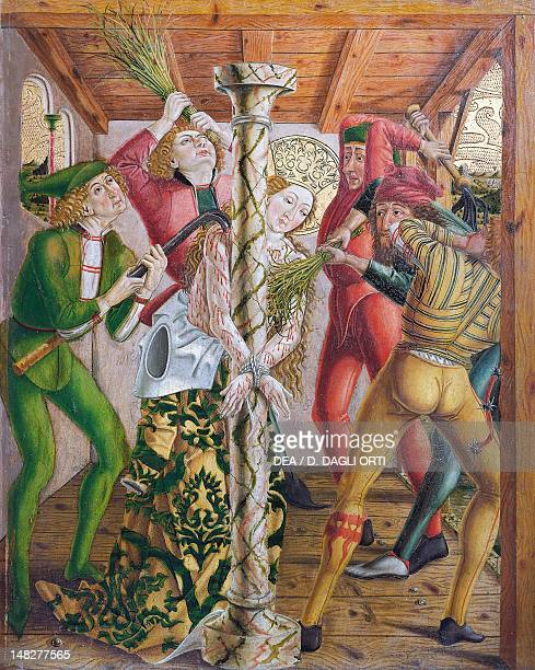 St Catherine tortured scene from the left door of the Altar of Saint Catherine of Alexandria by Friedrich Pacher panel VarnaNovacella Pinacoteca...