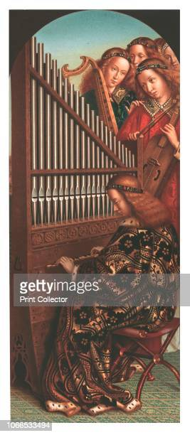 St Cecilia at the organ 19th century chromolithograph after a section of the 15thcentury Ghent Altarpiece by Hubert and Jan van Eyck in St Bavo's...