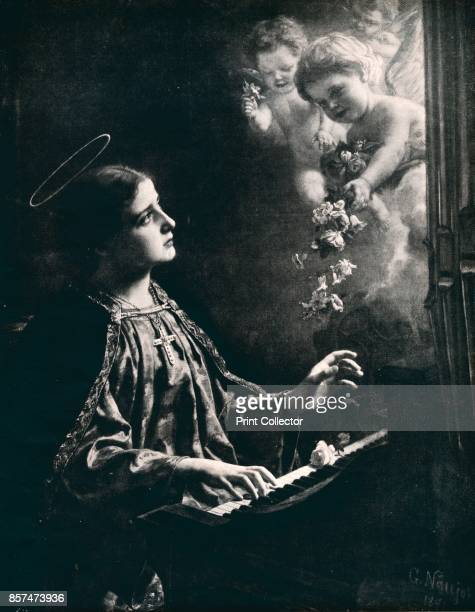 St Cecilia' Saint Cecilia the patron saint of musicians From Bibby's Annual 1911 [J Bibby Sons Liverpool 1911] Artist Gustav Naujok