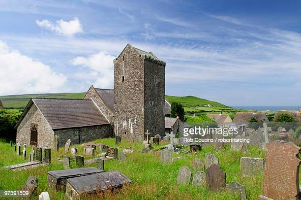 st. cenydd's church, llangennith, gower, wales, united kingdom, europe - gower peninsula stock photos and pictures