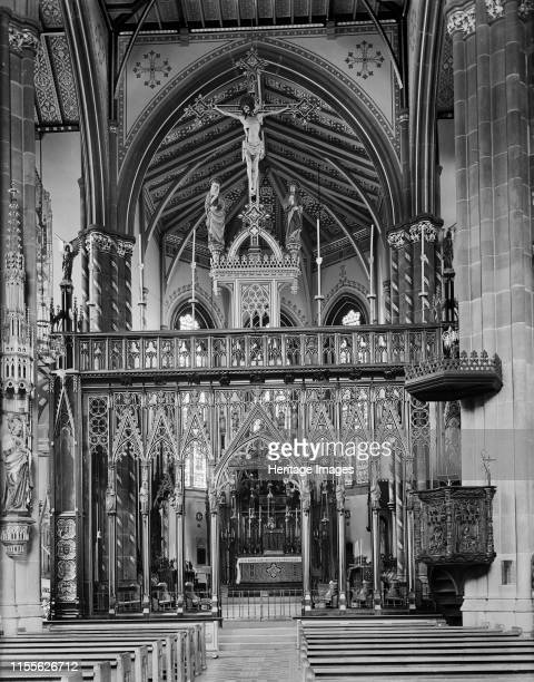 St Chad's Roman Catholic Cathedral, Birmingham, West Midlands, circa 1940s-1960s. View of the interior of the cathedral, looking towards the rood...
