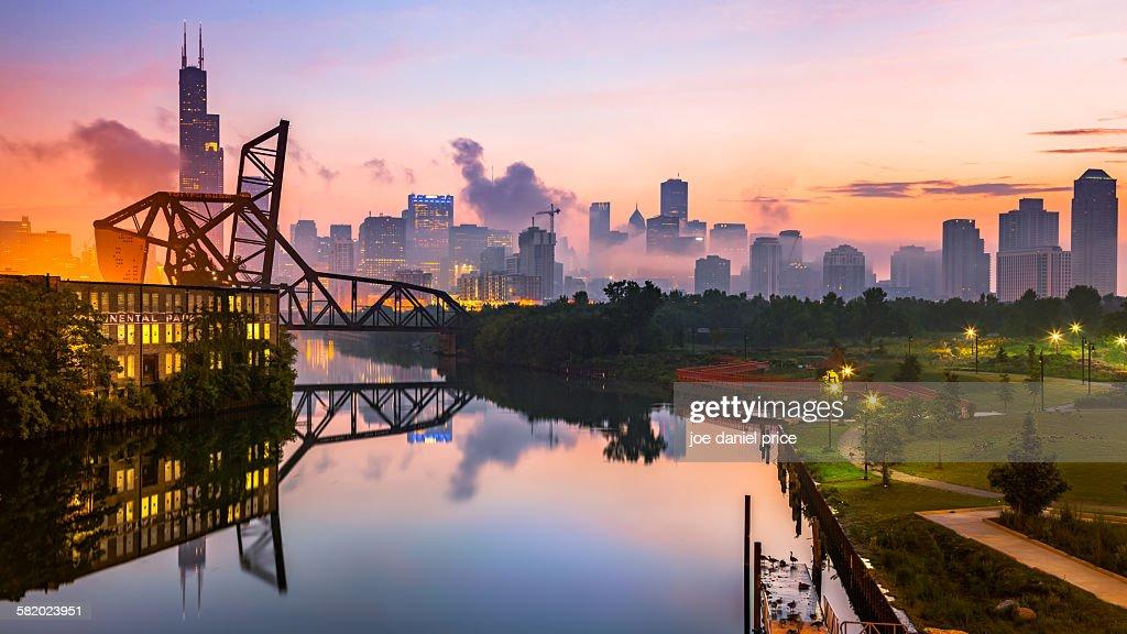 St. Charles Air Line Bridge, Chicago, Illinois, Am : Stock Photo