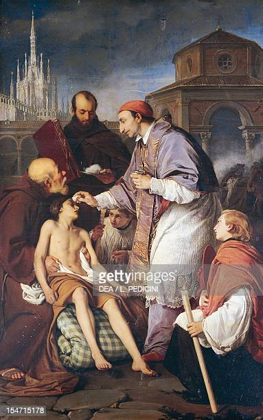 St Charles Borromeo visiting the plague victims by Giuseppe Mancinelli oil on canvas cm 180x285 Church of San Carlo all'Arena Naples Campania Italy...