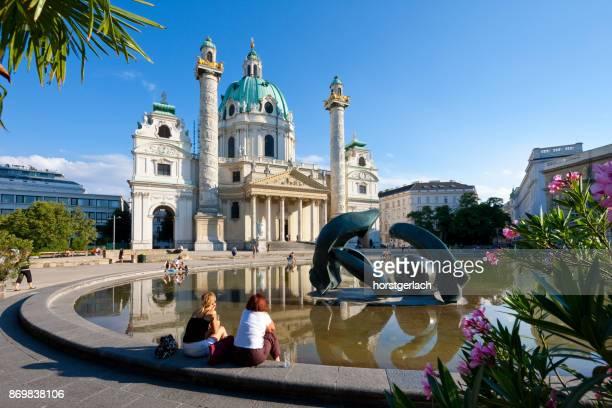 st. charles's church (karlskirche), vienna, austria - vienna stock photos and pictures