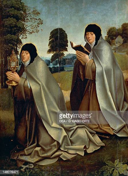 St Clare of Assisi with a poor clare nun 16th century by an unknown Portuguese or Flemish artist Lisbon Museu Nacional De Arte Antiga