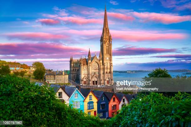 st. colman's cathedral at sunset horizontal - colman stock photos and pictures
