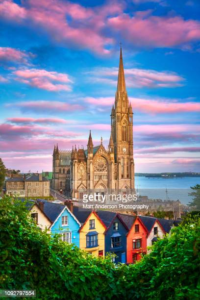 st. colman's cathedral at sunset vertical - colman stock photos and pictures