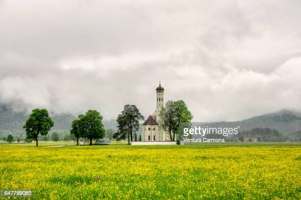 st. coloman church at schwangau, germany - chapel stock pictures, royalty-free photos & images
