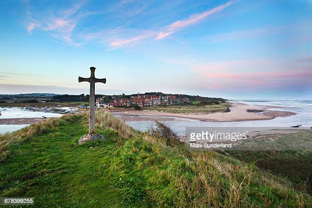 St. Cuthberts Cross at dusk, Alnmouth, Northumberland, England, United Kingdom, Europe