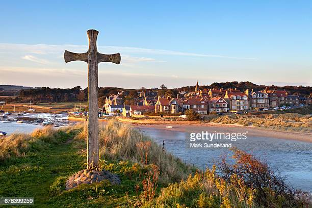 St. Cuthberts Cross on Church Hill and Alnmouth at sunset, Northumberland, England, United Kingdom, Europe