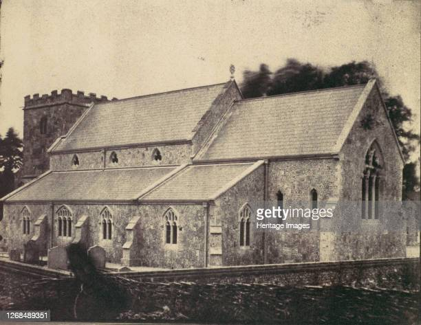 St Cyriac Church at Lacock Abbey Ghost Figure of Man in a Top Hat in Foreground 1850s Artist Unknown