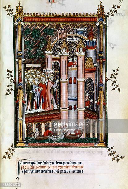 St Denis at the gates of Paris 1317 Manuscript illustration from a work on the life of St Denis written by Yves a monk at the Abbey of St Denis The...