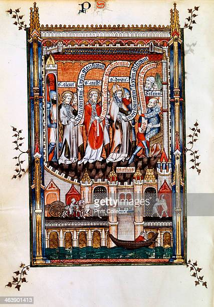 St Denis before Sissinius 1317 The saint and his companions St Eleutherius and St Rusticus are brought before Sisinnius in chains Manuscript...