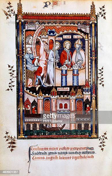 St Denis in chains 1317 St Denis St Eleutherius and St Rusticus are taken to prison on the orders of Sisinnius Manuscript illustration from a work on...