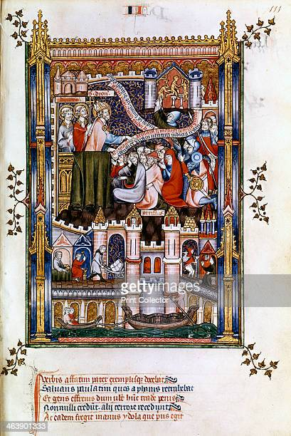 St Denis preaching, 1317. In the background are Parisians breaking idols. Manuscript illustration from a work on the life of St Denis , written by...