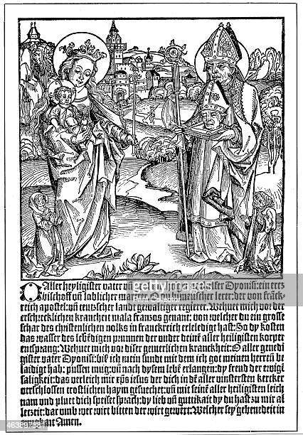 St Dionysius praying to the Virgin and Child for help to overcome the curse of Syphilis Flysheet published in Regensburg The German publication...
