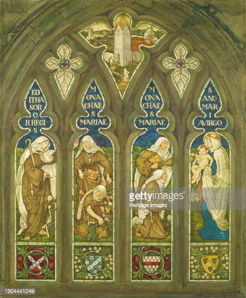St Editha and the Nuns of St Mary, 1908. After a design by Ford Madox Brown. St. Editha is on the left holding a staff. In front of her are two nuns...