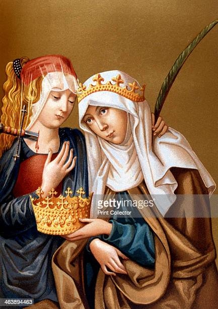 St Elizabeth of Hungary and St Lucy, 1878. Elizabeth was the daughter of Andras II of Hungary. After the death in 1227 of her husband Louis IV,...