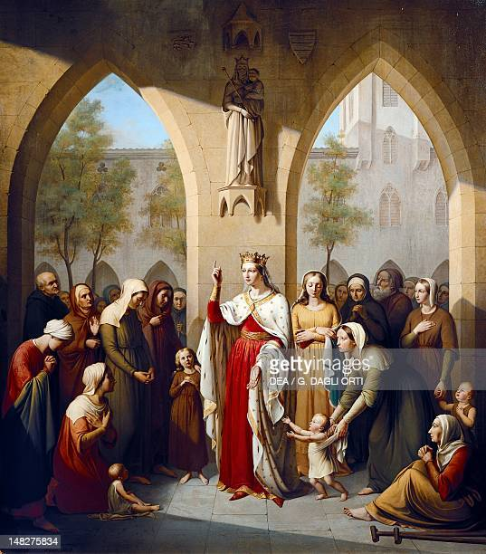 St Elizabeth of Hungary visiting the hospice she founded by EdmeCamille MartinDaussigny