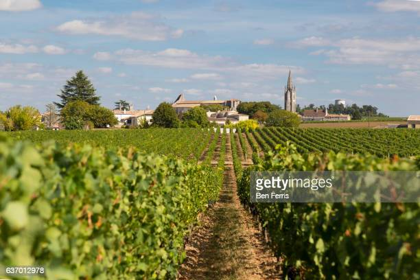 St. Emillion, France, the historic village center sits among the fields and rows of grape vines