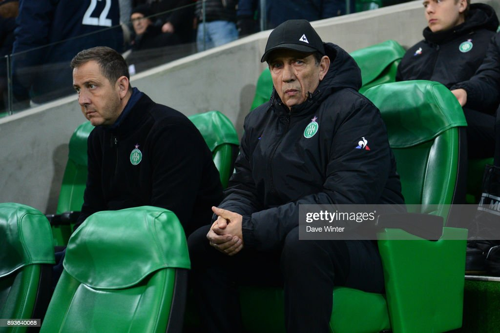 St Etienne assistant coach Jean Louis Gasset during the Ligue 1 match between AS Saint-Etienne and AS Monaco at Stade Geoffroy-Guichard on December 15, 2017 in Saint-Etienne, France.