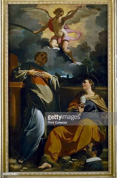 'St Etienne', c1589-1632. St Stephen I, Pope from 254-257 and St Agatha, Sicilian saint , holding a silver cup containing her severed breasts. Above...