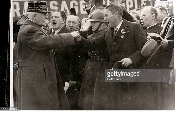 3/31/1941 St Etienne France When Marshal Petain visited the industrial city of St Etienne in unoccupied France recently French war veterans gave him...