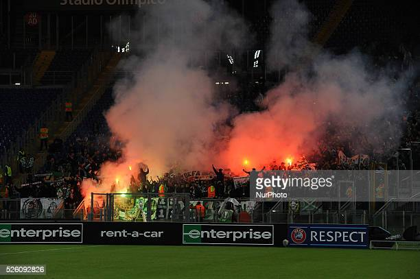 St Etienne supporters during the Europe League football match SS Lazio vs AS Saint��tienne at the Olympic Stadium in Rome on october 01 2015