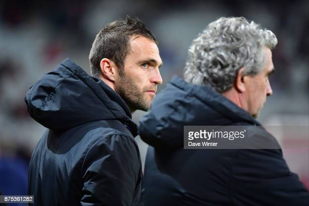 St Etienne temporary coach Julien Sable and St Etienne sporting director Dominique Rocheteau during the Ligue 1 match between Lille OSC and AS...