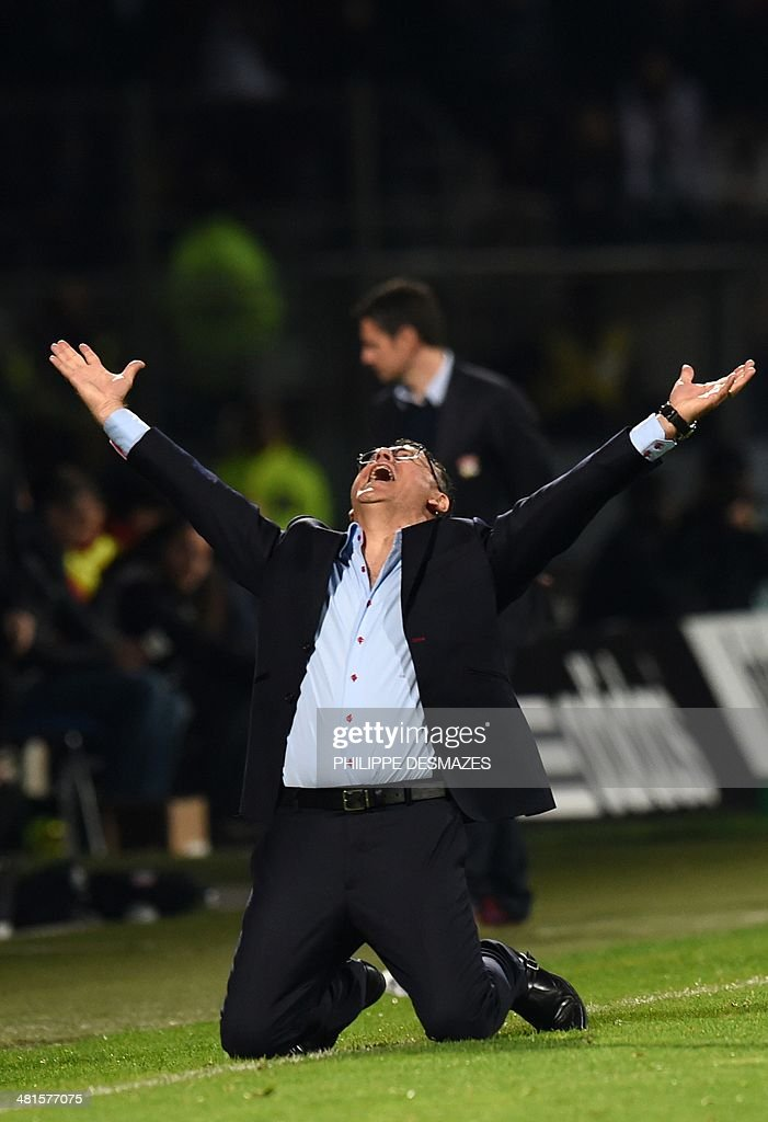 St Etienne's French coach Christophe Galtier reacts after Saint Etienne defeated Lyon 2-1 in their French L1 football match Olympique Lyonnais (OL) vs Saint-Etienne (ASSE) at the Gerland stadium in Lyon, southeastern France, on March 30, 2014.