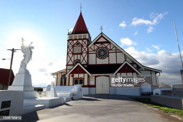 St Faith's Anglican Church lakeside at Lake Rotorua on May 19, 2020 in Rotorua, New Zealand. Prime Minister Jacinda Ardern is visiting the Rotorua...