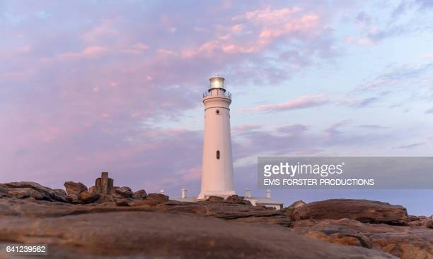 st francis bay lighthouse - shot-4: tower with rocks in foreground / during dawn - ems forster productions stock pictures, royalty-free photos & images