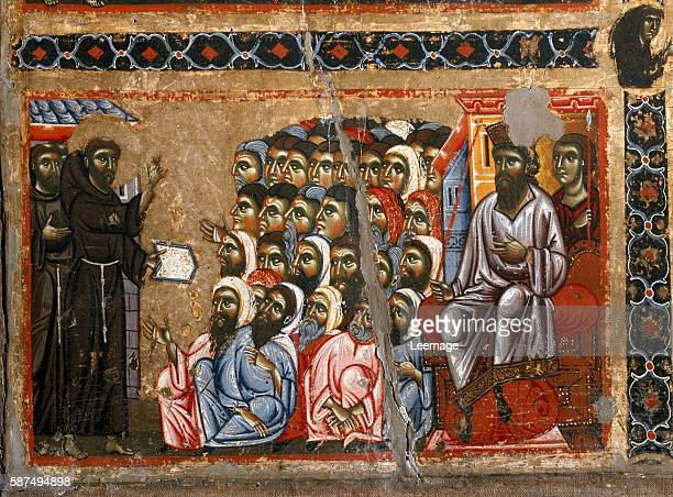St Francis of Assisi addressing the sultan Detail of the altarpiece of San Francesco d'Assisi painting by Maestro del San Francesco Bardi Florentine...