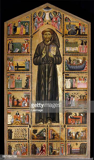 St Francis of Assisi altarpiece and scenes of his life Painting by Maestro del san Francesco Bardi florentine school first half of the 13th century...