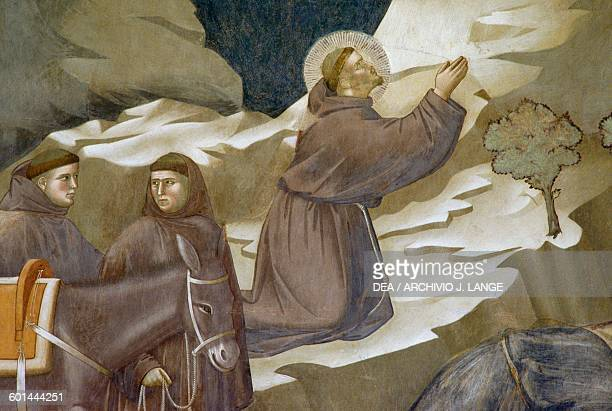 St Francis of Assisi detail from Miracle of the Spring fresco Saint Francis cycle by Giotto Upper Basilica of St Francis Assisi Umbria Italy